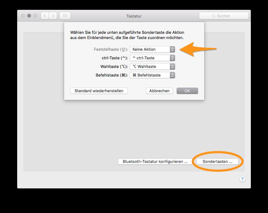 In der Systemsteuerung unter «Tastatur» > «Sondertasten» > «Feststelltaste» umstellen auf «Keine Aktion».