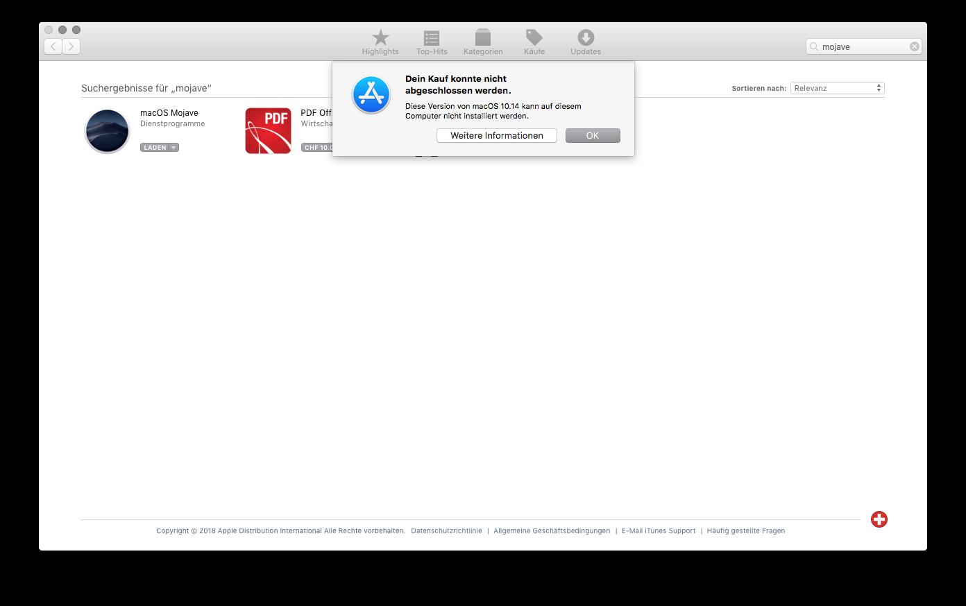 Fehlermeldung: Diese Version von macOS 10.14 kann auf diesem Computer nicht installiert werden.